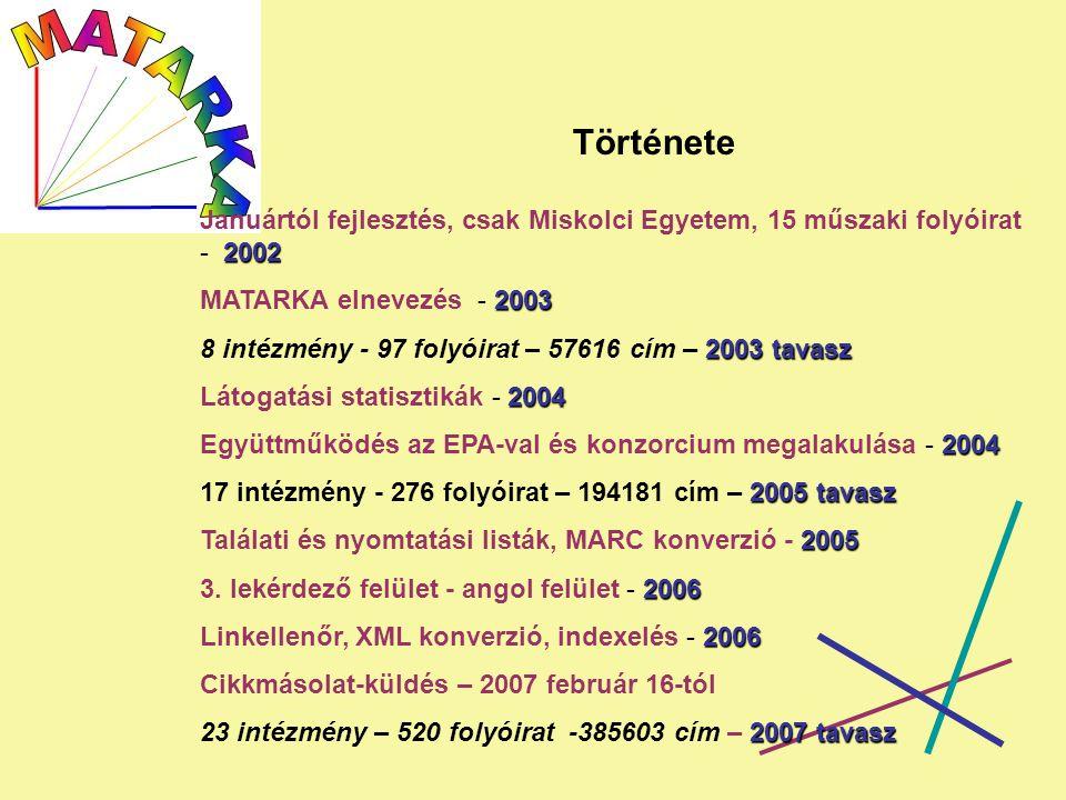 Története 2002 Januártól fejlesztés, csak Miskolci Egyetem, 15 műszaki folyóirat - 2002 2003 MATARKA elnevezés - 2003 2003 tavasz 8 intézmény - 97 folyóirat – 57616 cím – 2003 tavasz 2004 Látogatási statisztikák - 2004 2004 Együttműködés az EPA-val és konzorcium megalakulása - 2004 2005 tavasz 17 intézmény - 276 folyóirat – 194181 cím – 2005 tavasz 2005 Találati és nyomtatási listák, MARC konverzió - 2005 2006 3.