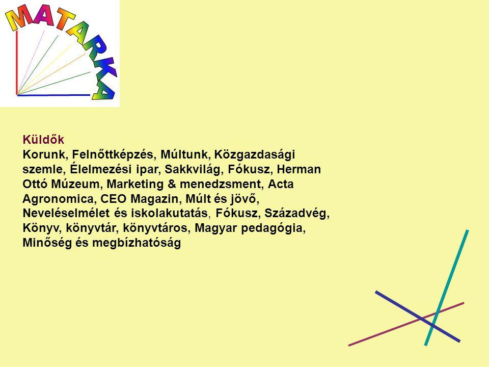 Küldők Korunk, Felnőttképzés, Múltunk, Közgazdasági szemle, Élelmezési ipar, Sakkvilág, Fókusz, Herman Ottó Múzeum, Marketing & menedzsment, Acta Agronomica, CEO Magazin, Múlt és jövő, Neveléselmélet és iskolakutatás, Fókusz, Századvég, Könyv, könyvtár, könyvtáros, Magyar pedagógia, Minőség és megbízhatóság