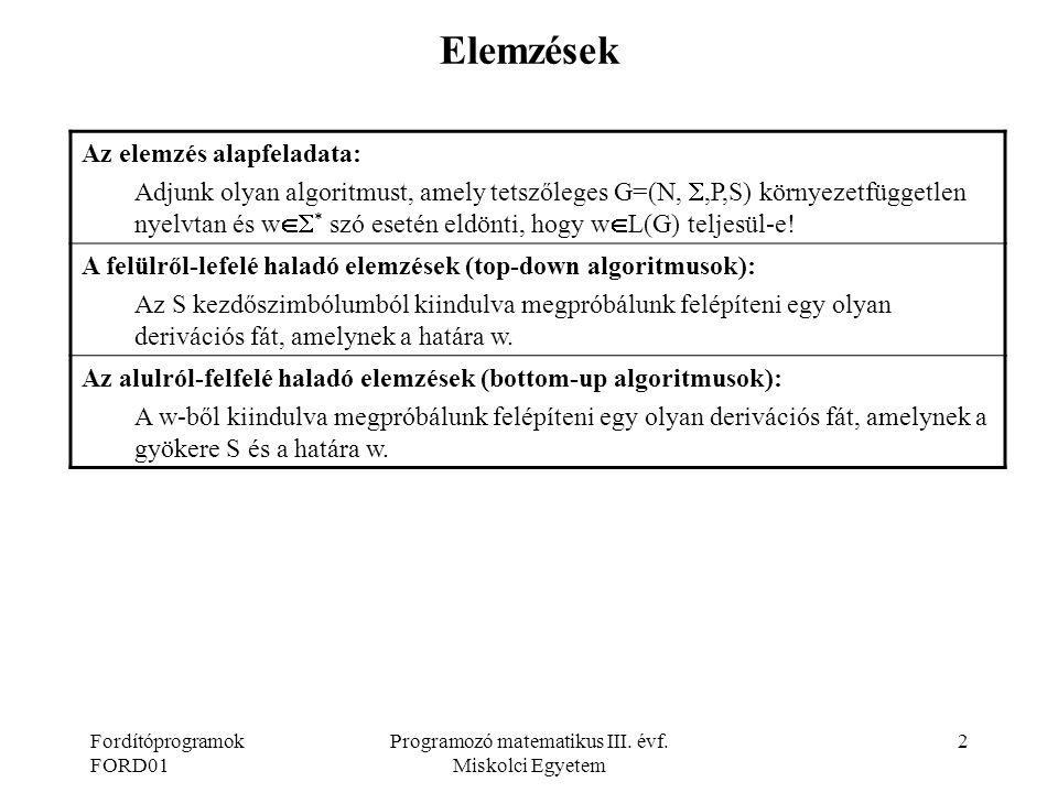 Fordítóprogramok FORD01 Programozó matematikus III. évf. Miskolci Egyetem 2 Elemzések Az elemzés alapfeladata: Adjunk olyan algoritmust, amely tetszől