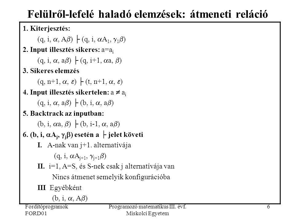 Fordítóprogramok FORD01 Programozó matematikus III. évf. Miskolci Egyetem 6 Felülről-lefelé haladó elemzések: átmeneti reláció 1. Kiterjesztés: (q, i,