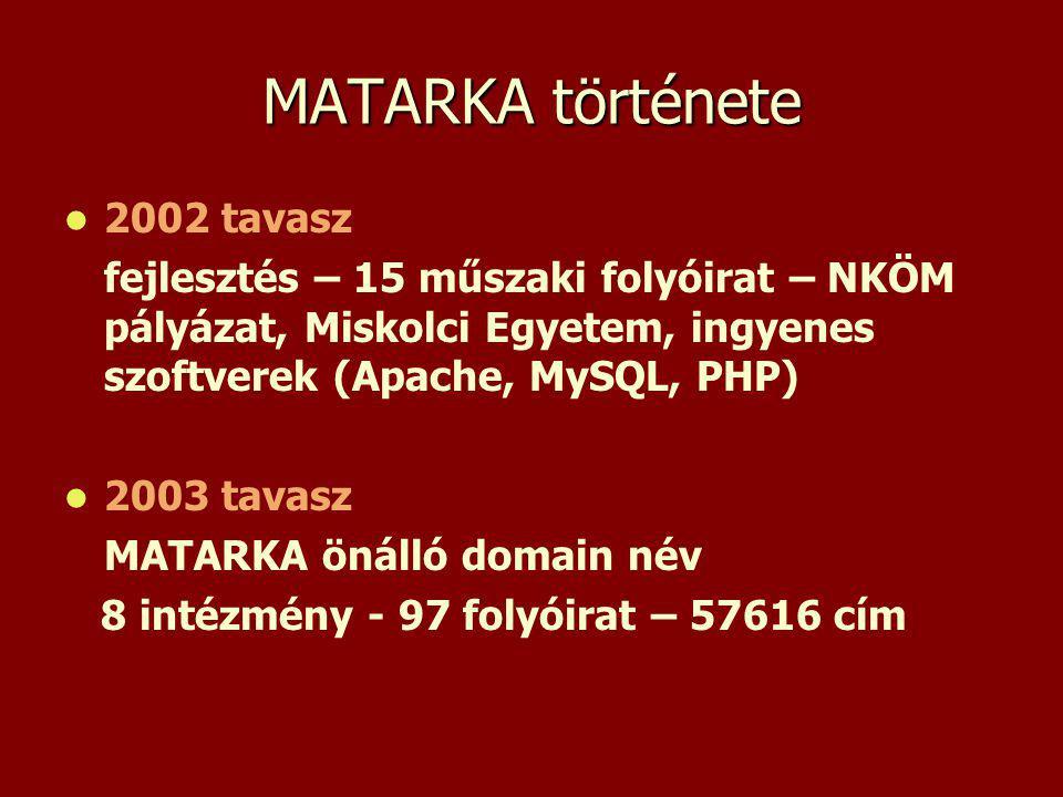 MATARKA története 2002 tavasz fejlesztés – 15 műszaki folyóirat – NKÖM pályázat, Miskolci Egyetem, ingyenes szoftverek (Apache, MySQL, PHP) 2003 tavasz MATARKA önálló domain név 8 intézmény - 97 folyóirat – 57616 cím