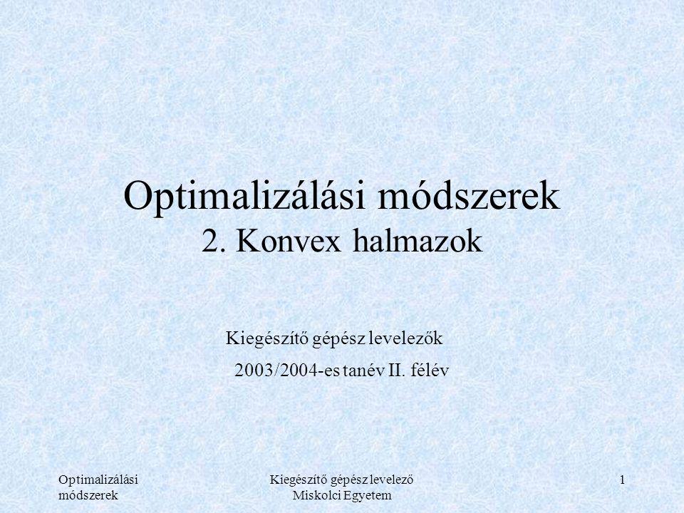 Optimalizálási módszerek Kiegészítő gépész levelező Miskolci Egyetem 1 Optimalizálási módszerek 2. Konvex halmazok Kiegészítő gépész levelezők 2003/20