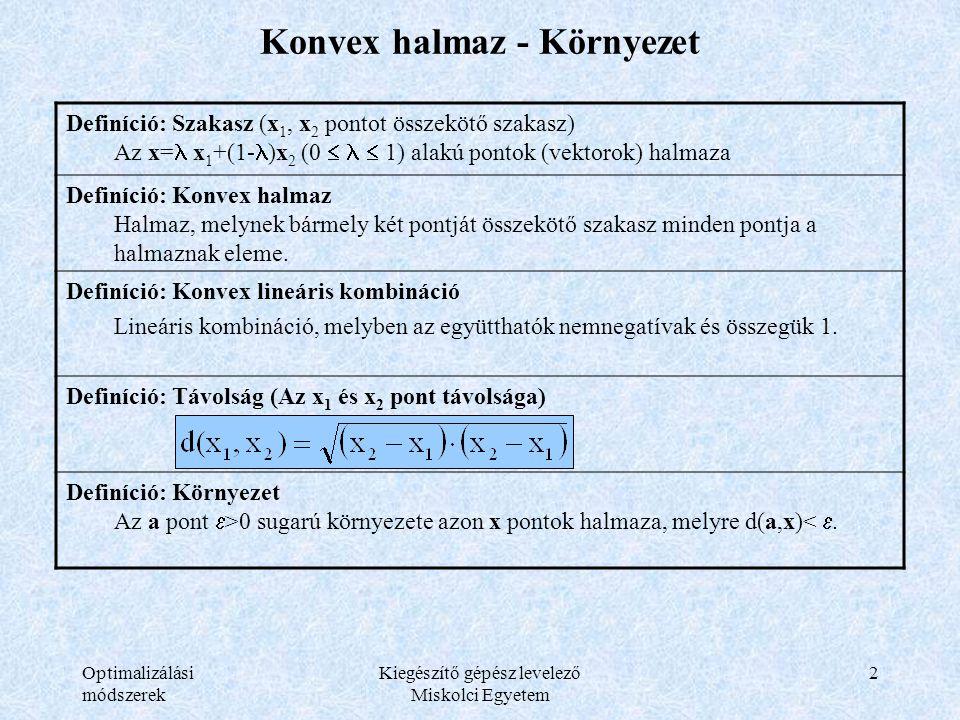 Optimalizálási módszerek Kiegészítő gépész levelező Miskolci Egyetem 2 Konvex halmaz - Környezet Definíció: Szakasz (x 1, x 2 pontot összekötő szakasz