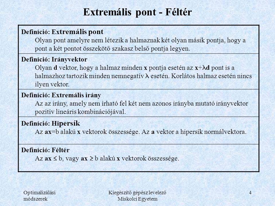 Optimalizálási módszerek Kiegészítő gépész levelező Miskolci Egyetem 4 Extremális pont - Féltér Definíció: Ex tremális pont Olyan pont amelyre nem lét