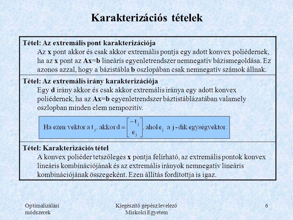 Optimalizálási módszerek Kiegészítő gépész levelező Miskolci Egyetem 6 Karakterizációs tételek Tétel: Az extremális pont karakterizációja Az x pont ak