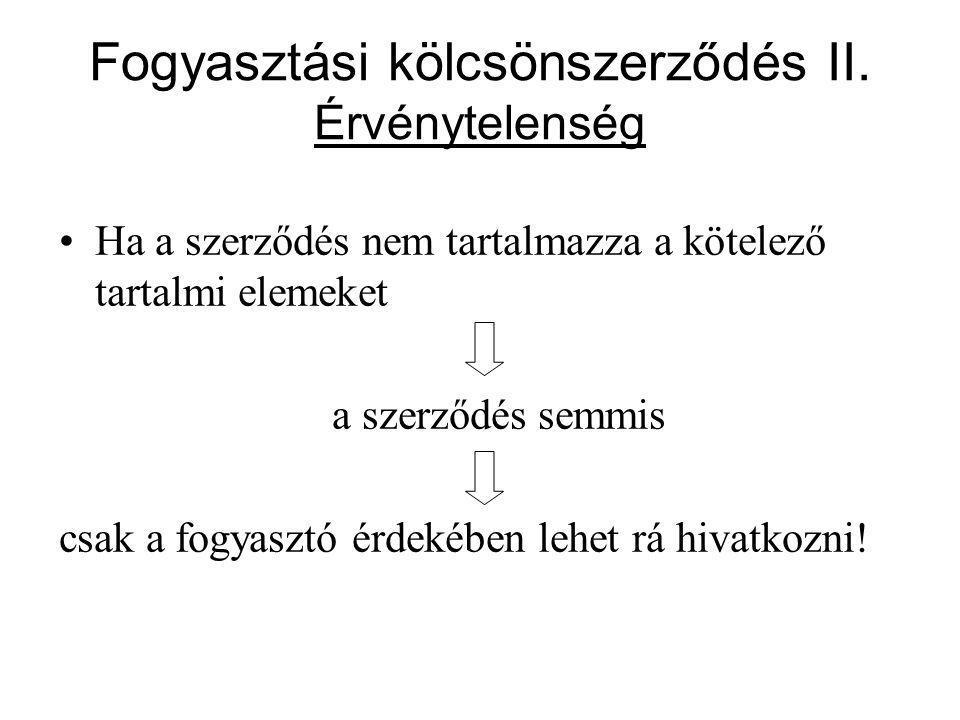 Fogyasztási kölcsönszerződés II.