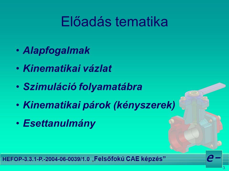 """3. e- HEFOP-3.3.1-P.-2004-06-0039/1.0 """" Felsőfokú CAE képzés"""" Előadás tematika Alapfogalmak Kinematikai vázlat Szimuláció folyamatábra Kinematikai pár"""