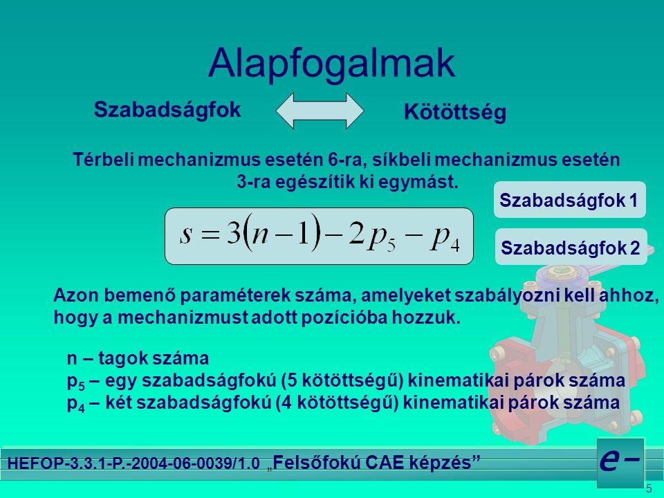 """5. e- HEFOP-3.3.1-P.-2004-06-0039/1.0 """" Felsőfokú CAE képzés"""" Alapfogalmak Szabadságfok Kötöttség Térbeli mechanizmus esetén 6-ra, síkbeli mechanizmus"""