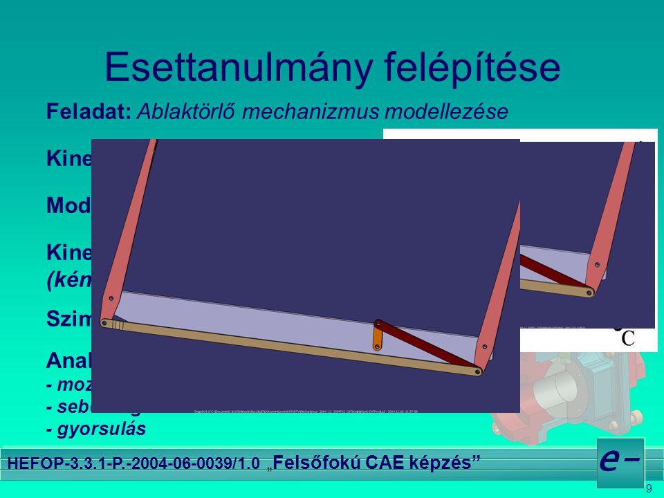 """9. e- HEFOP-3.3.1-P.-2004-06-0039/1.0 """" Felsőfokú CAE képzés"""" Esettanulmány felépítése Feladat: Ablaktörlő mechanizmus modellezése Kinematikai vázlat"""