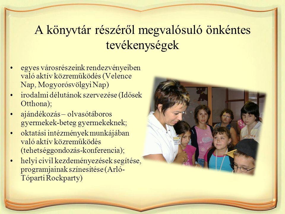 A könyvtár részéről megvalósuló önkéntes tevékenységek egyes városrészeink rendezvényeiben való aktív közreműködés (Velence Nap, Mogyorósvölgyi Nap) i