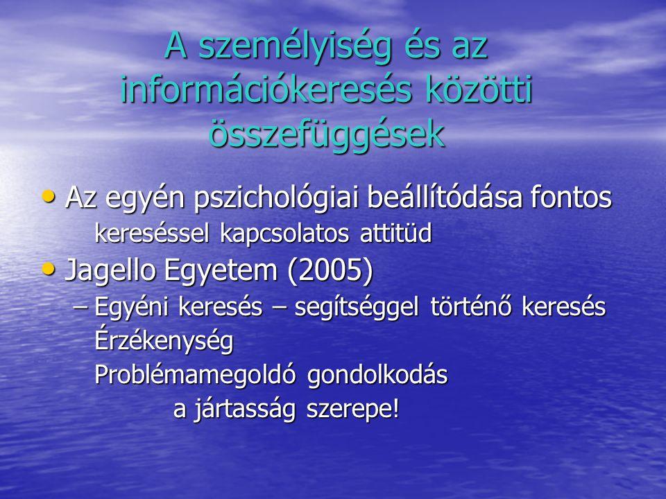 A személyiség és az információkeresés közötti összefüggések Az egyén pszichológiai beállítódása fontos Az egyén pszichológiai beállítódása fontos kereséssel kapcsolatos attitüd Jagello Egyetem (2005) Jagello Egyetem (2005) –Egyéni keresés – segítséggel történő keresés Érzékenység Problémamegoldó gondolkodás a jártasság szerepe!