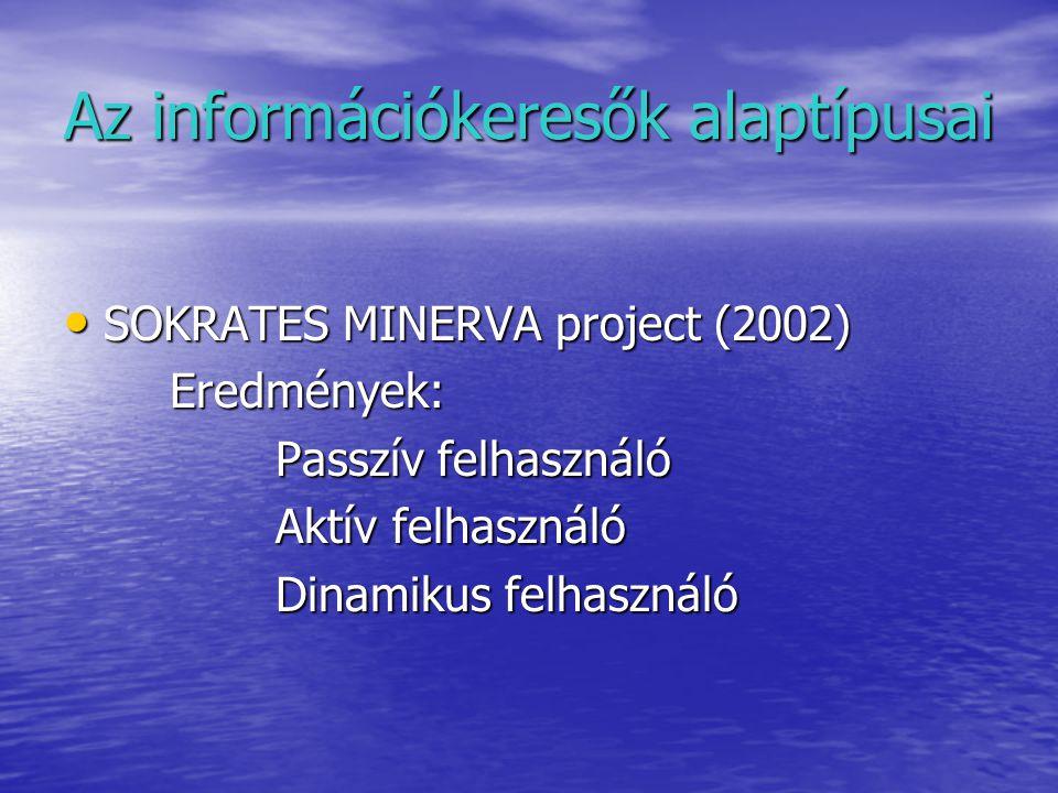 Az információkeresők alaptípusai SOKRATES MINERVA project (2002) SOKRATES MINERVA project (2002)Eredmények: Passzív felhasználó Aktív felhasználó Dinamikus felhasználó