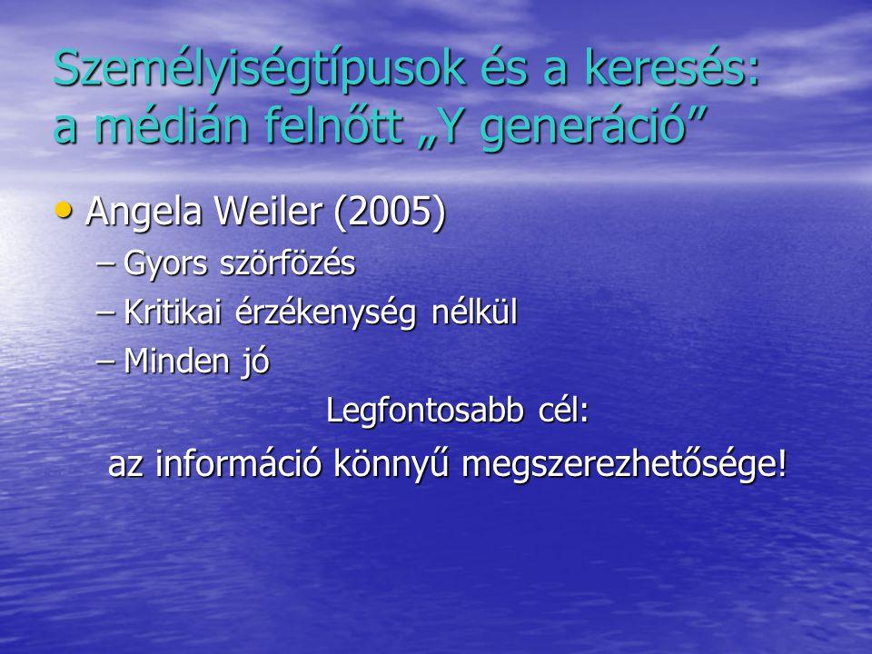 """Személyiségtípusok és a keresés: a médián felnőtt """"Y generáció Angela Weiler (2005) Angela Weiler (2005) –Gyors szörfözés –Kritikai érzékenység nélkül –Minden jó Legfontosabb cél: az információ könnyű megszerezhetősége."""