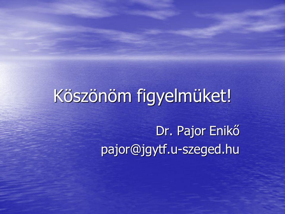 Köszönöm figyelmüket! Dr. Pajor Enikő pajor@jgytf.u-szeged.hu