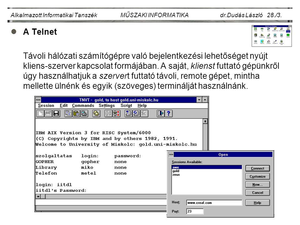 Alkalmazott Informatikai Tanszék MŰSZAKI INFORMATIKA dr.Dudás László 28./14.