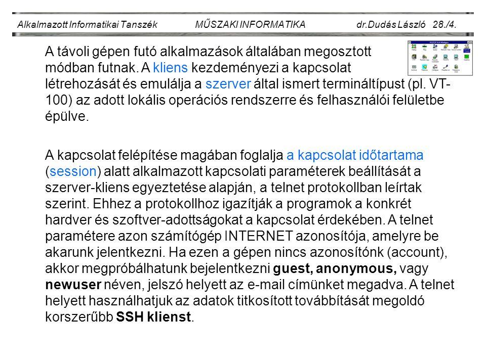 Alkalmazott Informatikai Tanszék MŰSZAKI INFORMATIKA dr.Dudás László 28./4.