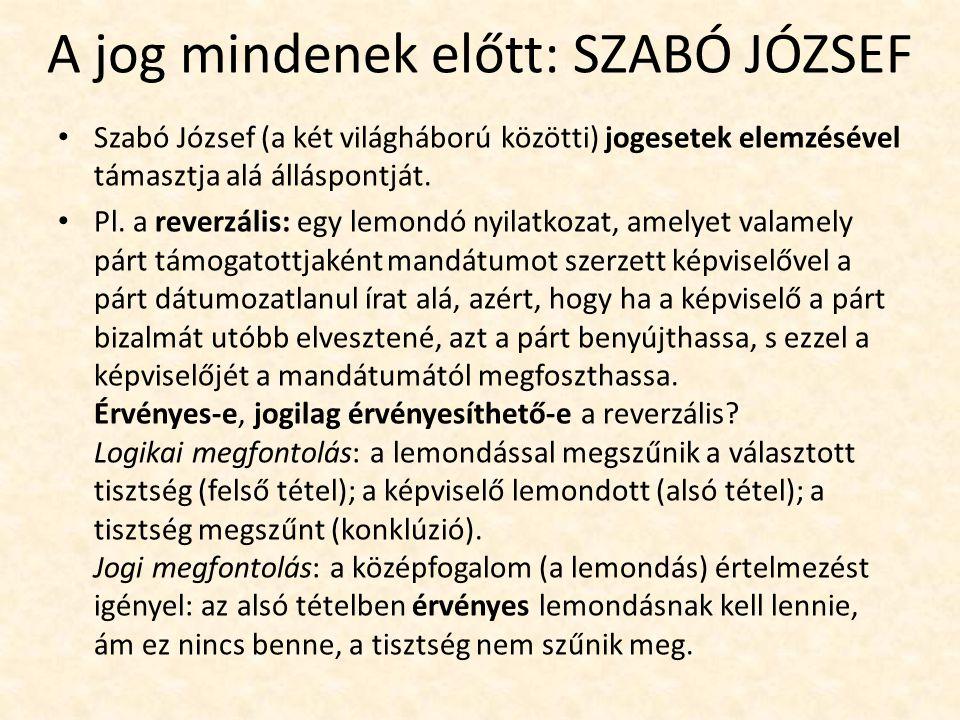 A jog mindenek előtt: SZABÓ JÓZSEF Szabó József (a két világháború közötti) jogesetek elemzésével támasztja alá álláspontját.