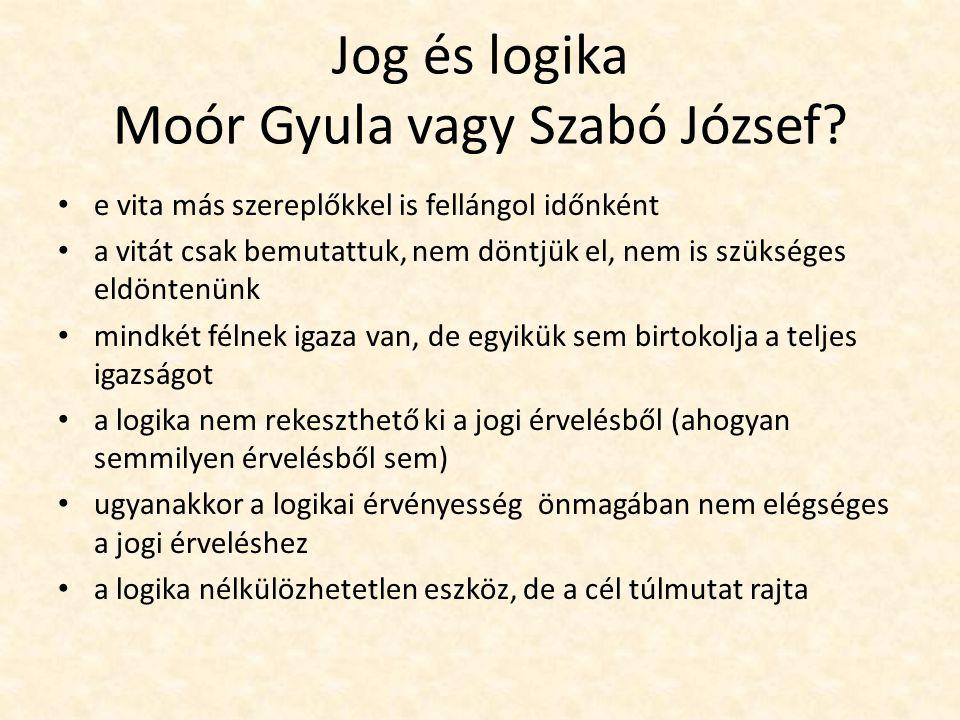 Jog és logika Moór Gyula vagy Szabó József.