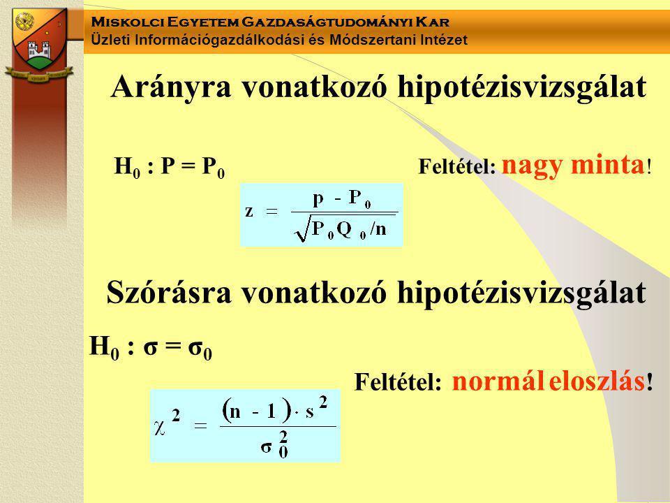 Miskolci Egyetem Gazdaságtudományi Kar Üzleti Információgazdálkodási és Módszertani Intézet Arányra vonatkozó hipotézisvizsgálat H 0 : P = P 0 Feltéte
