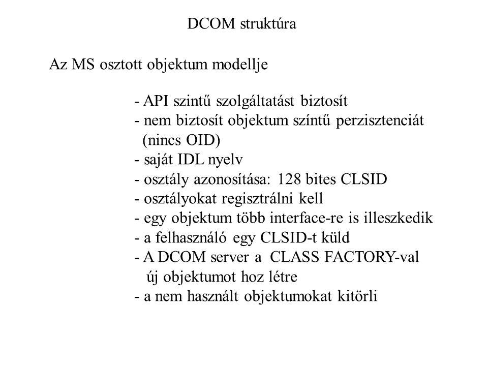 DCOM struktúra Az MS osztott objektum modellje - API szintű szolgáltatást biztosít - nem biztosít objektum színtű perzisztenciát (nincs OID) - saját IDL nyelv - osztály azonosítása: 128 bites CLSID - osztályokat regisztrálni kell - egy objektum több interface-re is illeszkedik - a felhasználó egy CLSID-t küld - A DCOM server a CLASS FACTORY-val új objektumot hoz létre - a nem használt objektumokat kitörli