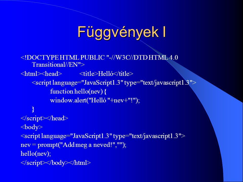 Függvények I Helló function hello(nev) { window.alert(