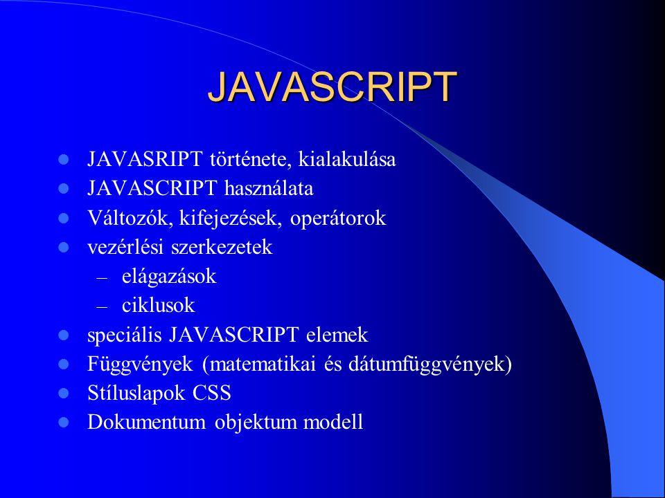 JAVASCRIPT JAVASRIPT története, kialakulása JAVASCRIPT használata Változók, kifejezések, operátorok vezérlési szerkezetek – elágazások – ciklusok spec