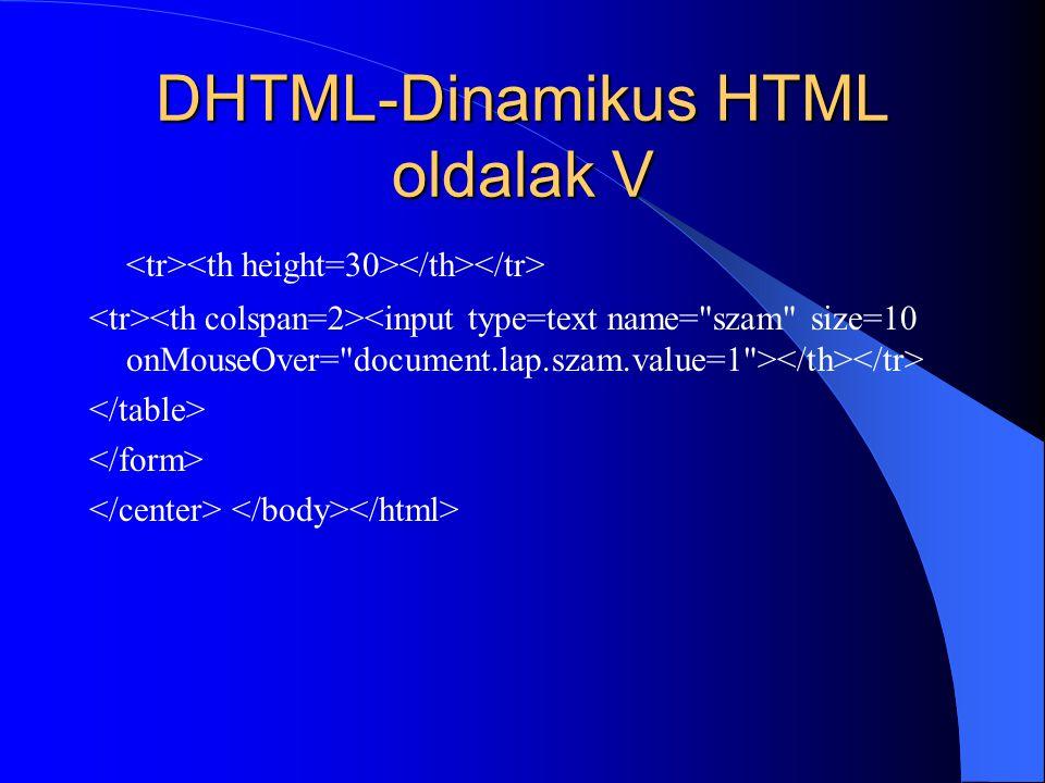 DHTML-Dinamikus HTML oldalak V