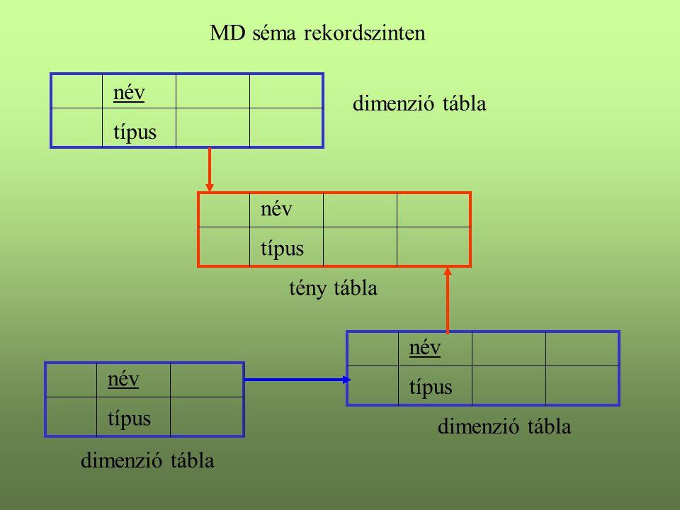 MD séma rekordszinten tény tábla név típus dimenzió tábla név típus dimenzió tábla név típus dimenzió tábla név típus