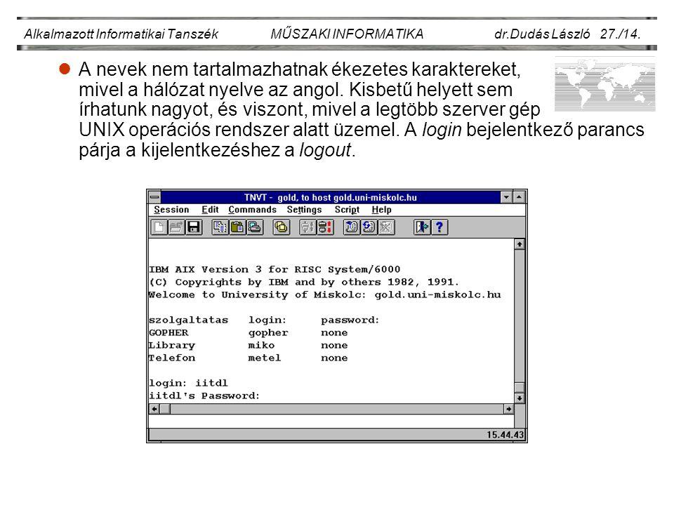 Alkalmazott Informatikai Tanszék MŰSZAKI INFORMATIKA dr.Dudás László 27./14.