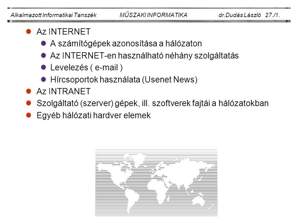 Alkalmazott Informatikai Tanszék MŰSZAKI INFORMATIKA dr.Dudás László 27./1.