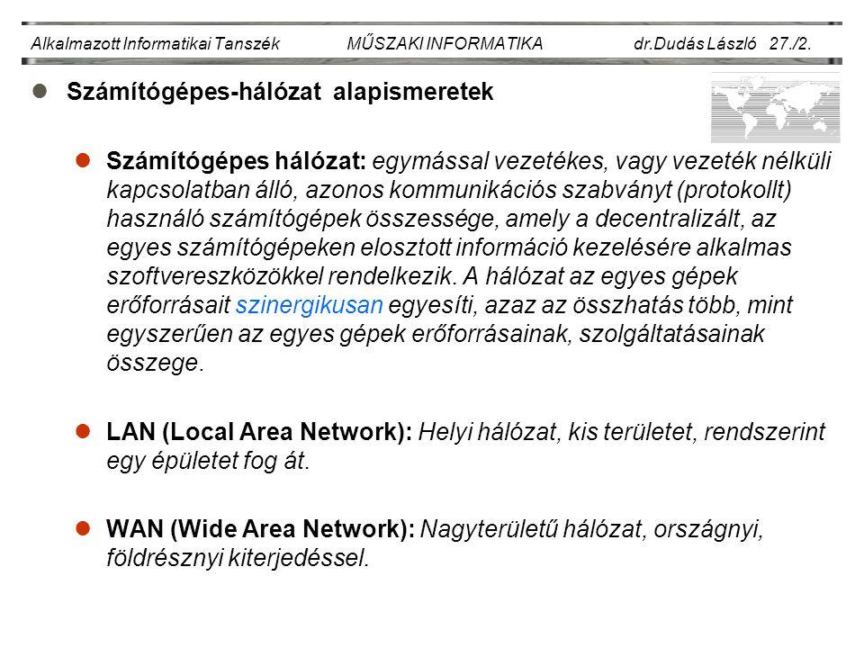 Alkalmazott Informatikai Tanszék MŰSZAKI INFORMATIKA dr.Dudás László 27./13.