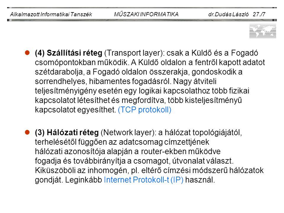 Alkalmazott Informatikai Tanszék MŰSZAKI INFORMATIKA dr.Dudás László 27./18.