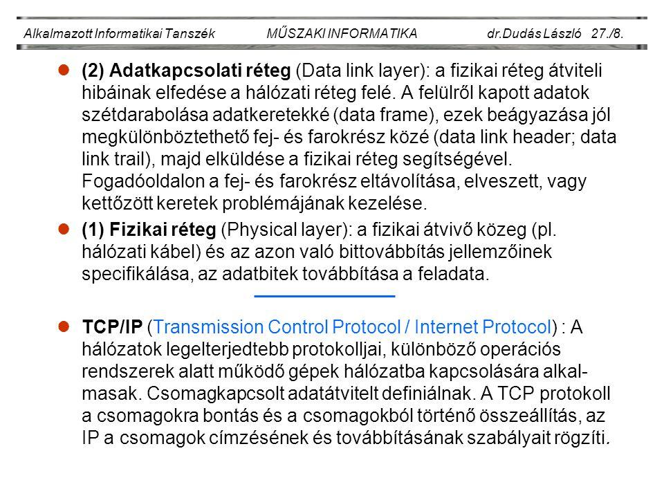 Alkalmazott Informatikai Tanszék MŰSZAKI INFORMATIKA dr.Dudás László 27./9.