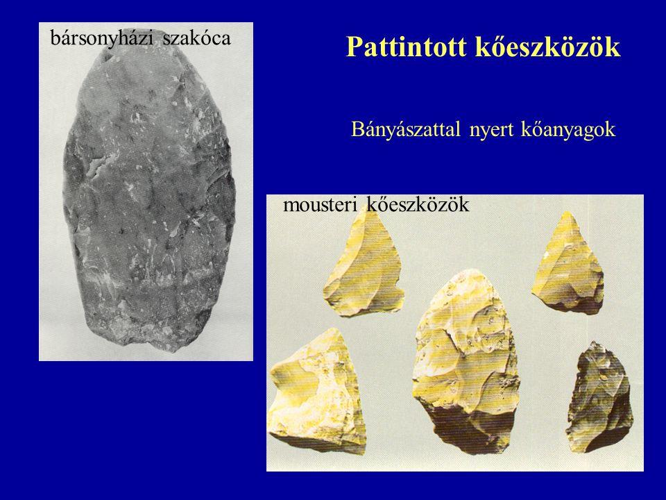 mousteri kőeszközök bársonyházi szakóca Pattintott kőeszközök Bányászattal nyert kőanyagok