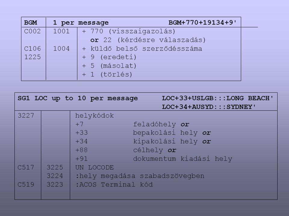 BGM1 per messageBGM+770+19134+9' C0021001+ 770 (visszaigazolás) or 22 (kérdésre válaszadás) C1061004+ küldő belső szerződésszáma 1225+ 9 (eredeti) + 5