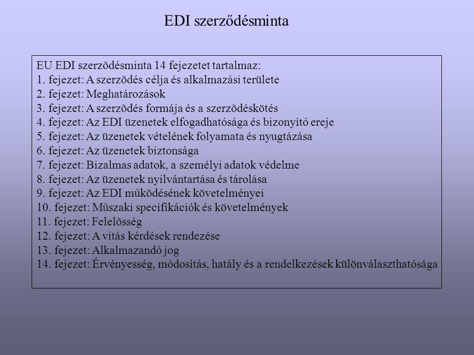 EDI szerződésminta EU EDI szerzõdésminta 14 fejezetet tartalmaz: 1. fejezet: A szerzõdés célja és alkalmazási területe 2. fejezet: Meghatározások 3. f