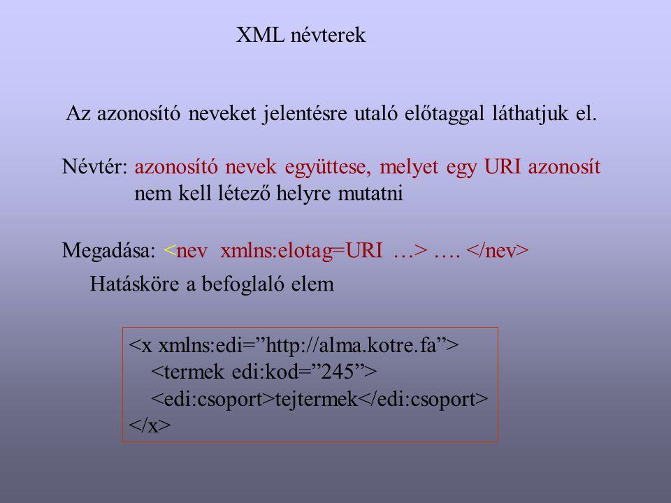 XML névterek Az azonosító neveket jelentésre utaló előtaggal láthatjuk el. Névtér: azonosító nevek együttese, melyet egy URI azonosít nem kell létező