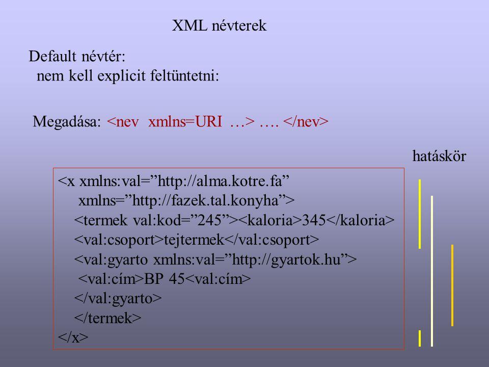 """Default névtér: nem kell explicit feltüntetni: Megadása: …. <x xmlns:val=""""http://alma.kotre.fa"""" xmlns=""""http://fazek.tal.konyha""""> 345 tejtermek BP 45 h"""
