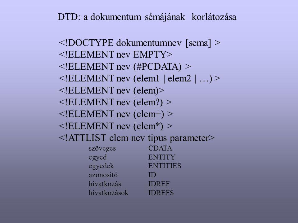 szövegesCDATA egyedENTITY egyedekENTITIES azonositóID hivatkozásIDREF hivatkozásokIDREFS DTD: a dokumentum sémájának korlátozása