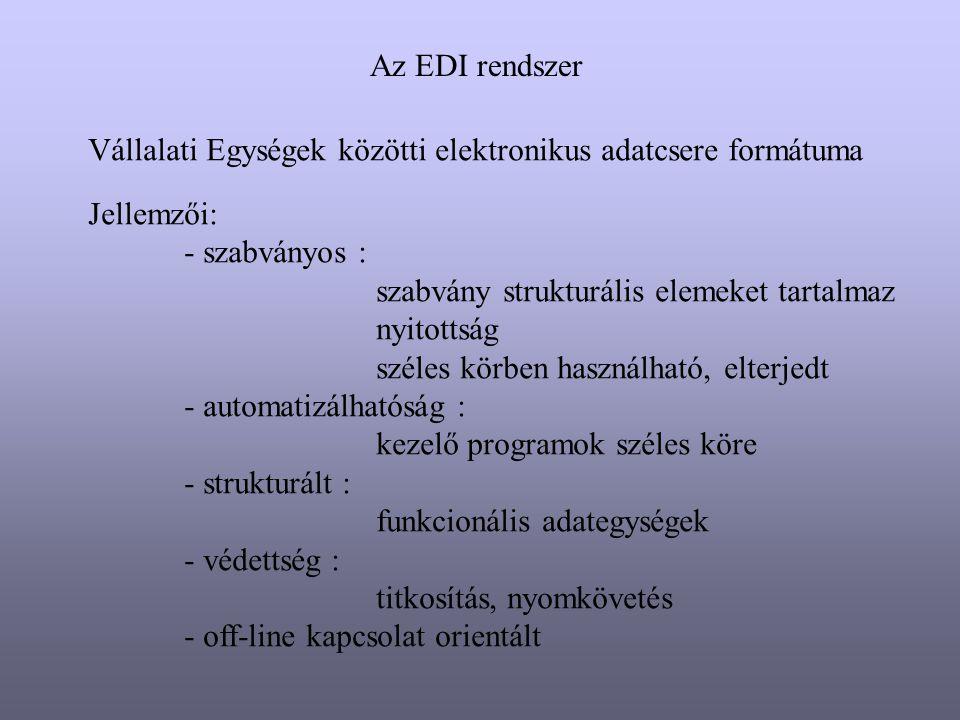 Az EDI rendszer Vállalati Egységek közötti elektronikus adatcsere formátuma Jellemzői: - szabványos : szabvány strukturális elemeket tartalmaz nyitott