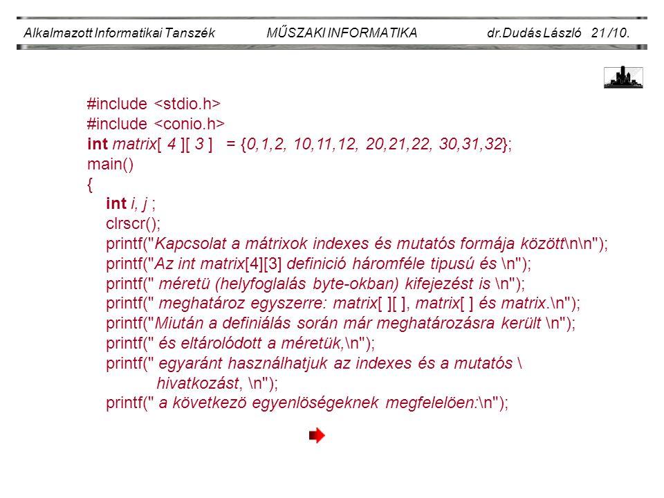 Alkalmazott Informatikai Tanszék MŰSZAKI INFORMATIKA dr.Dudás László 21 /10.