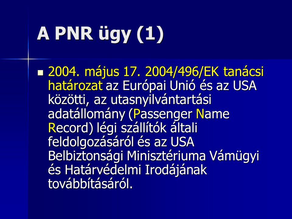 A PNR ügy (1) 2004. május 17. 2004/496/EK tanácsi határozat az Európai Unió és az USA közötti, az utasnyilvántartási adatállomány (Passenger Name Reco