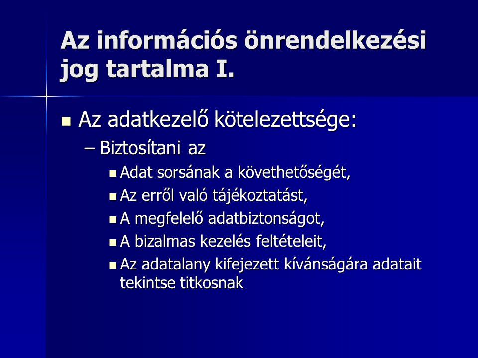 Az információs önrendelkezési jog tartalma I. Az adatkezelő kötelezettsége: Az adatkezelő kötelezettsége: –Biztosítani az Adat sorsának a követhetőség