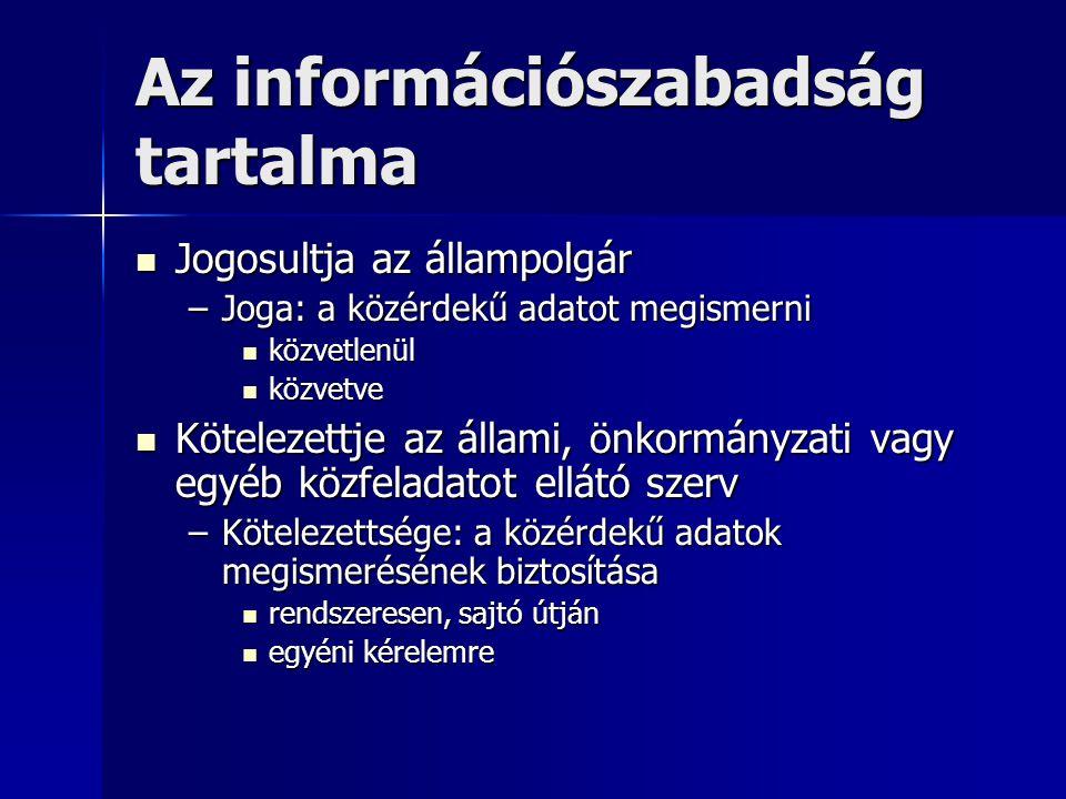 Az információszabadság tartalma Jogosultja az állampolgár Jogosultja az állampolgár –Joga: a közérdekű adatot megismerni közvetlenül közvetlenül közve
