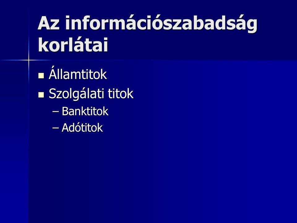 Az információszabadság korlátai Államtitok Államtitok Szolgálati titok Szolgálati titok –Banktitok –Adótitok