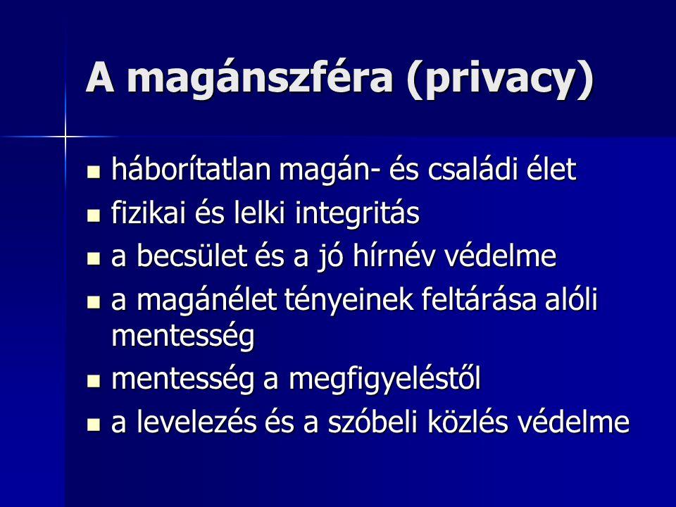 A magánszféra (privacy) háborítatlan magán- és családi élet háborítatlan magán- és családi élet fizikai és lelki integritás fizikai és lelki integritá
