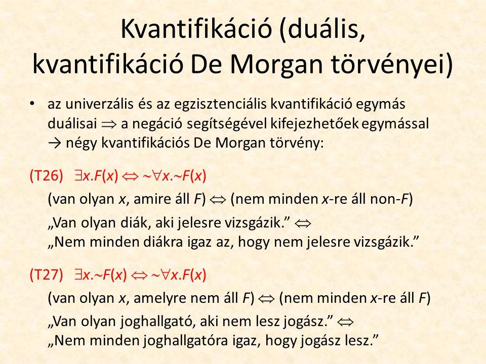 Kvantifikáció (duális, kvantifikáció De Morgan törvényei) az univerzális és az egzisztenciális kvantifikáció egymás duálisai  a negáció segítségével kifejezhetőek egymással → négy kvantifikációs De Morgan törvény: (T26)  x.F(x)   x.