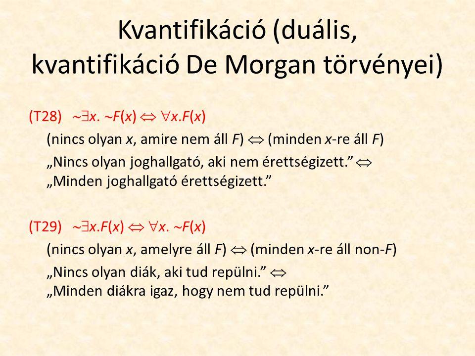 Kvantifikáció (duális, kvantifikáció De Morgan törvényei) (T28)  x.