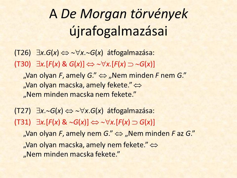 A De Morgan törvények újrafogalmazásai (T26)  x.G(x)   x.