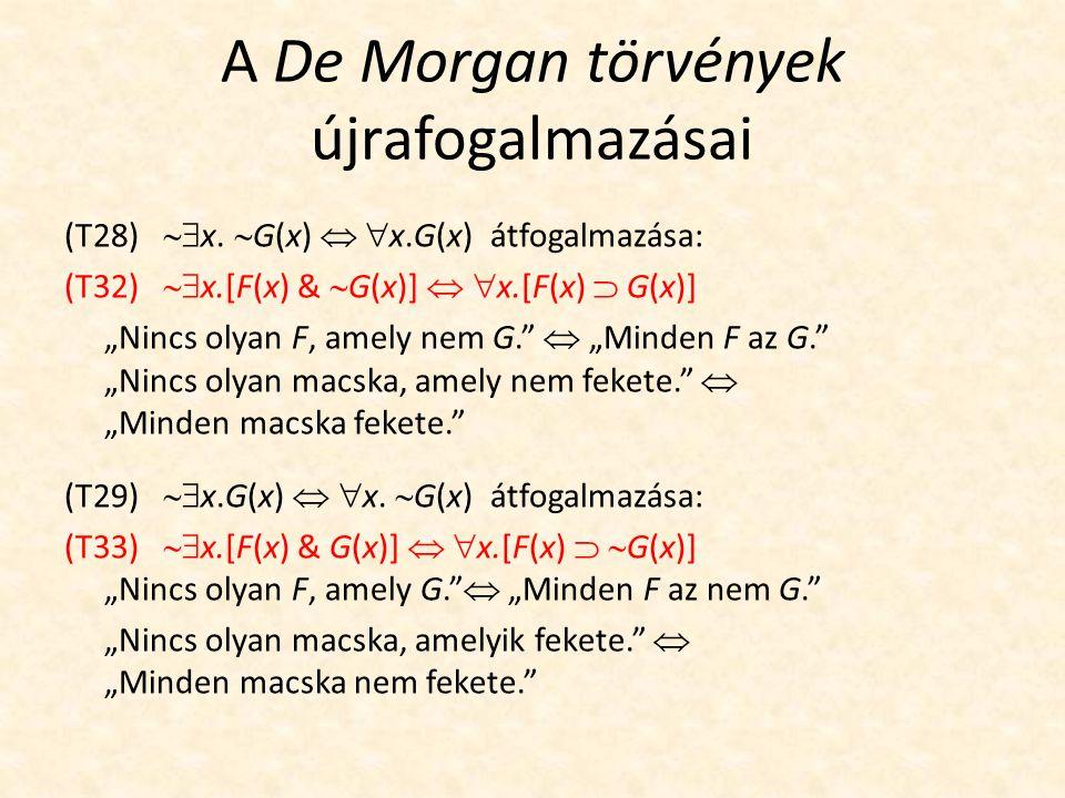 A De Morgan törvények újrafogalmazásai (T28)  x.